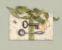 Rachel Ross Letter with Beetle and Green Ribbon