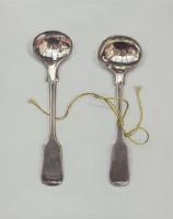 Rachel Ross Monogrammed salt Spoons with green silk