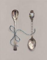 Rachel Ross Panama and Salt Spoons with Blue Silk