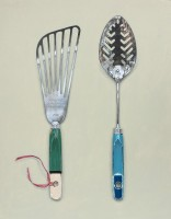 Rachel Ross Spatula and Slotted Spoon with Red Ribbon