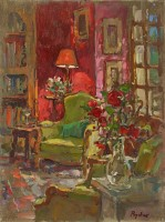 Susan Ryder RP NEAC Red Wall, Red Roses
