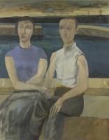 Simon Quadrat PPRWA NEAC Couple Seated on Harbour Wall