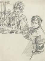 Steven Spurrier Reading with Mother
