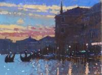 David Sawyer Two Gondolas, Sunset, Venice