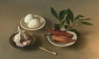 Sian Hopkinson Still Life with Garlic, Shallots and Eggs