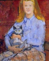Ruskin Spear Girl with Cat