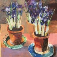Helen Riches Three Iris Pots