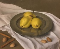 Sian Hopkinson Three Yellow Pears on Pewter Plate