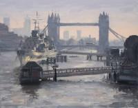 Tom Hughes Tower Bridge and HMS Belfast, November Morning