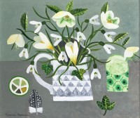Vanessa Bowman White Spring Flowers & Feather