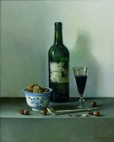 Roy Barley Port Bottle, Chinese Bowl with Walnuts and Clay Pipe