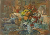 Susan Ryder RP NEAC Chrysanthemums from Roddam