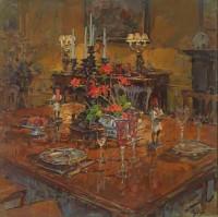 Susan Ryder RP NEAC Dining Room with Geraniums