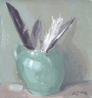 Serena Rowe Green Jug with Feathers