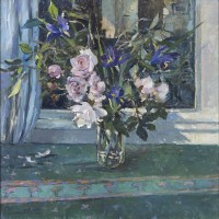 Jane Corsellis RWS RCA NEAC Roses in a Glass Vase