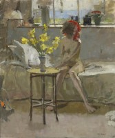 Ken Howard Female Nude with Daffodils
