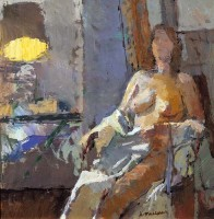 Andrew Maclaren Nude by a Reading Lamp