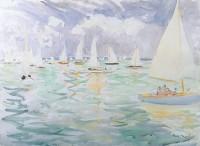 Paul Maze (1887-1979) DCM MM Sailing Boats, Dead Calm, Cowes