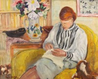 Paul Maze DCM MM (1887-1979) Jessie Sewing