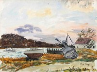 Paul Maze River Seine with Beached Boats