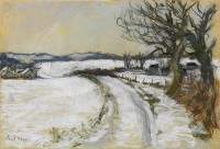 Paul Maze Snowy Road to Elsted, West Sussex