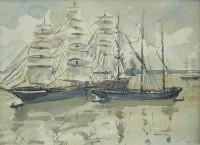 Paul Maze Tall Ships in a Bay