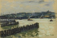 Paul Maze Tugs in a Harbour
